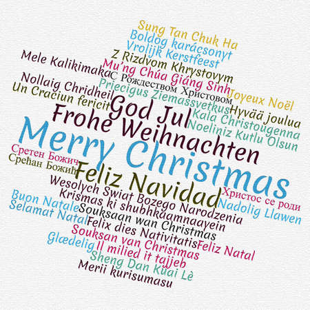 Merry Christmas in different languages in word cloud concept Stok Fotoğraf