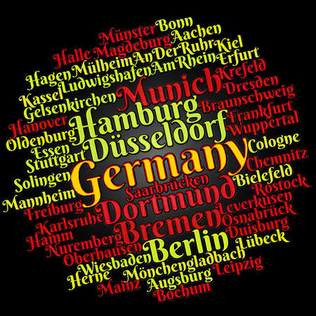 German cities word cloud concept Stok Fotoğraf
