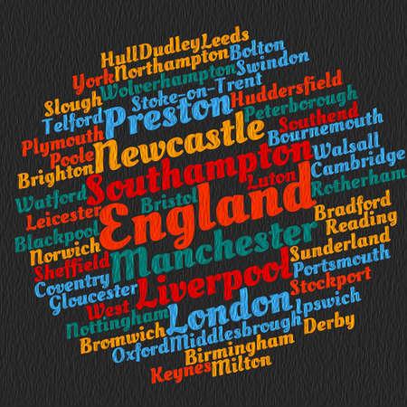 Localities in England word cloud concept