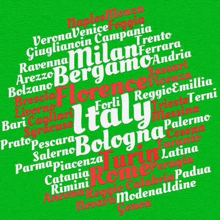 Italy cities word cloud concept Stok Fotoğraf