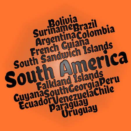 South American countries word cloud Stok Fotoğraf