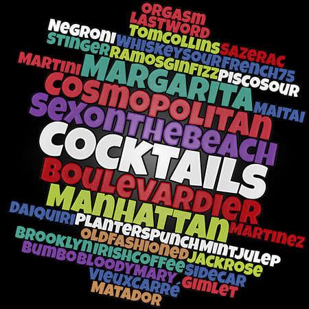 Most popular cocktails word cloud concept