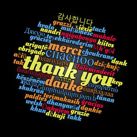 Thank you word cloud concept in different languages