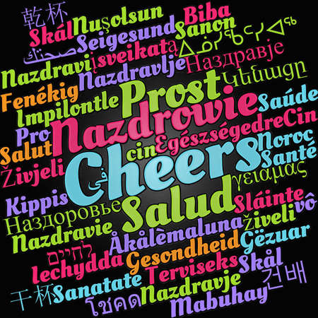 Cheers word cloud concept in different languages