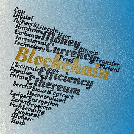 Blockchain wordcloud concept on blue background