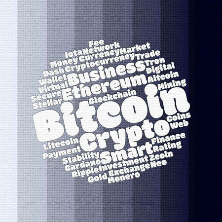 Bitcoin wordcloud concept on many colours background