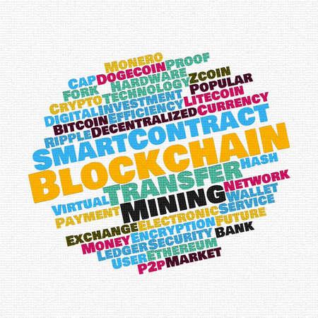 Blockchain wordcloud concept on mosaic white background