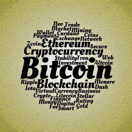 Bitcoin wordcloud concept on mosaic dark background  Stok Fotoğraf
