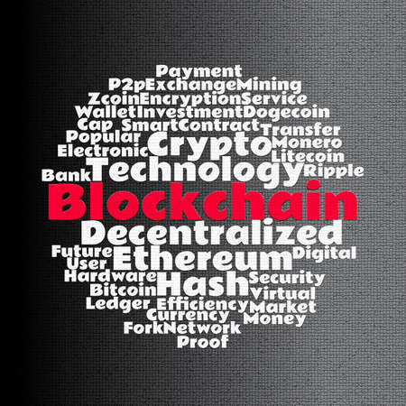 Blockchain wordcloud concept on mosaic dark background