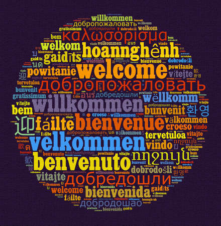 Word Welcome in different languages word cloud concept Stock Photo