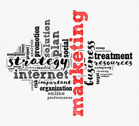 Marketing word cloud concept over white background Stok Fotoğraf