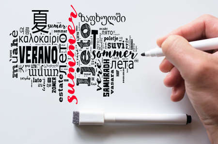 Word Summer in different languages word cloud collage over whiteboard Stok Fotoğraf