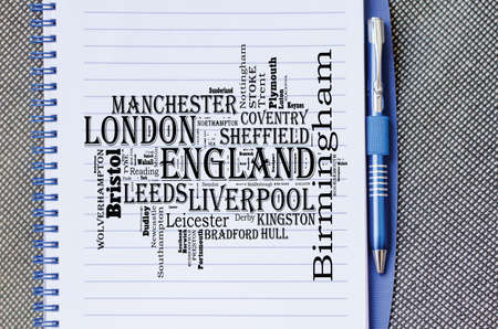 Localities in England word cloud travel concept over notepad background