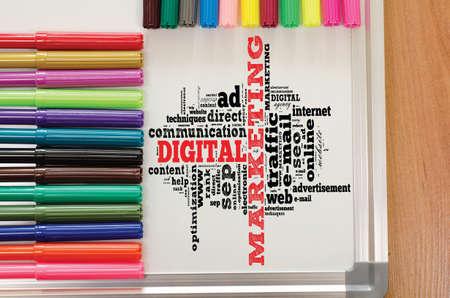 Digital marketing word cloud on the whiteboard