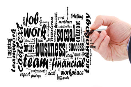 Business - word cloud over white background and human hand