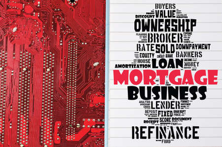 Mortgage word cloud collage over red background