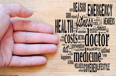 Doctor word cloud collage over wooden background