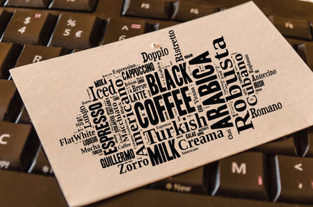 Coffee drinks words cloud collage over keyboard background