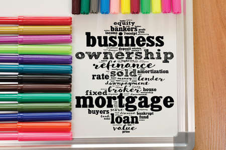 Mortgage word cloud collage over whiteboard background