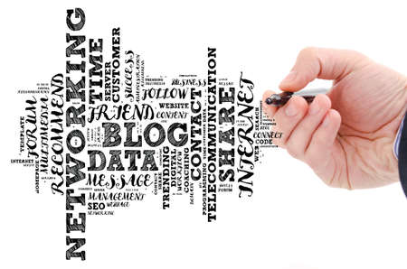 Blog word cloud collage over white background