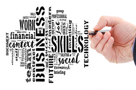 Skills word cloud collage over white background