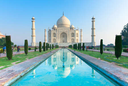 monument in india: The view of Taj Mahal at sunrise, Agra, India.
