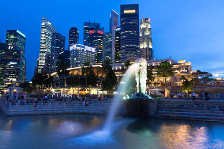Merlion fountain and CBD  at dusk, Singapore