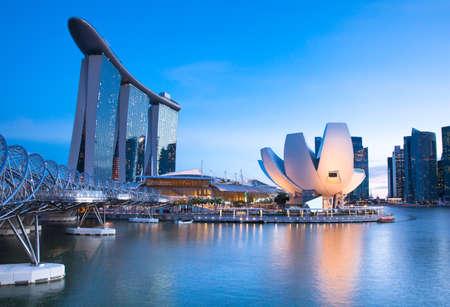 Marina Bay gebied 's nachts, Singapore.