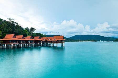 Luxury hotel bungalows on water, Langkawi Island, Malaysia
