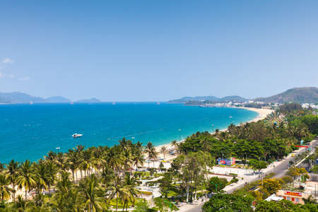 Vietnam, Nha Trang - April 20, 2014: Aerial view over Nha Trang city, popular tourist destination in Vietnam on April 20, 2014.
