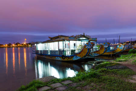 Touristic boats near imperial citadel, Hue, Vietnam