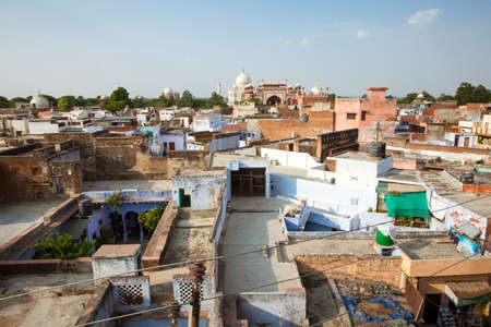 behind the scenes: Behind the scenes view of Taj Mahal from the roof of Taj Ganj area on 02 October, 2014, Agra, India. Stock Photo