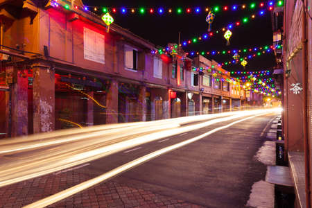 Malacca, Malaysia - 09 August 2014: Holiday illumination on the street of Malacca during Hari Raya Puasa celebrations on 09 August 2014, Malacca, Malaysia.