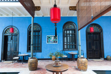 Georgetown, Malaysia � 04 August, 2014: The interior of Fatt Tze Mansion or Blue Mansion, famous oriental historical building and hotel in Georgetown, Penang, Malaysia on 04 August, 2014.