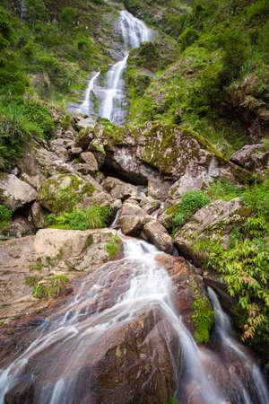lao: Silver Waterfall, Sapa village, Lao Cai Province, Northwest Vietnam. Stock Photo