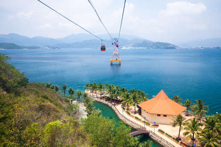 One of the worlds longest cable car over sea leading to Vinpearl Amusement Park Nha Trang Vietnam.