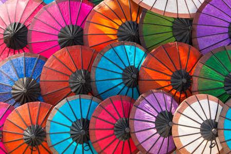laotian: Colorful Laotian umbrellas Luang Phrabang Laos.