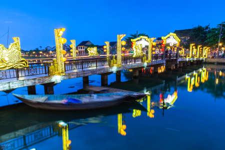 Old bridge at Hoi An ancient town UNESCO Heritage City Vietnam. Foto de archivo