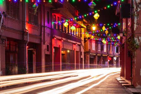 Holiday illumination on the street of Malacca during Hari Raya Puasa celebrations on 09 August 2014 Malacca Malaysia.