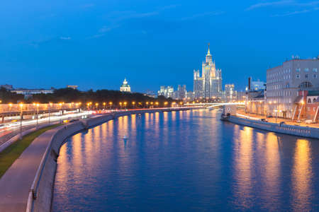 kotelnicheskaya embankment: Dusk view of the Kotelnicheskaya Embankment Building one of the Seven Sisters buildings in Moscow Russia. Stock Photo
