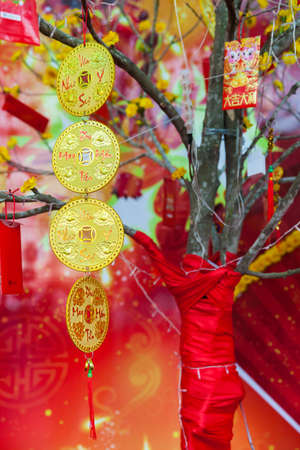monkey on a tree: Chinese Lunar New Year or Tet decorations on the street, Vietnam.