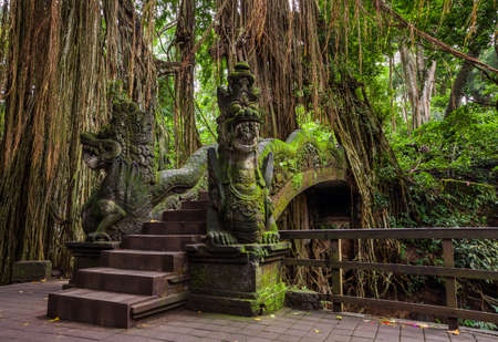 Dragon Bridge in Sacred Monkey Forest Sanctuary, Ubud, Bali, Indonesia Stock Photo - 55481535