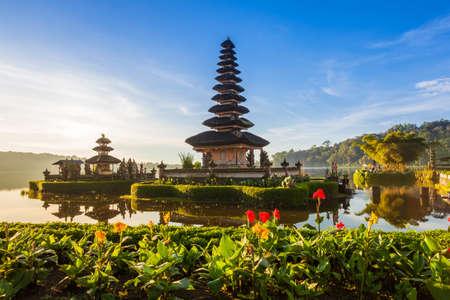 ulun: Pura Ulun Danu Bratan at sunrise, famous temple on the lake, Bedugul, Bali, Indonesia.