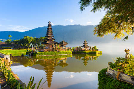 Pura Ulun Danu Bratan at sunrise, famous temple on the lake, Bedugul, Bali, Indonesia. Stock Photo - 56679321
