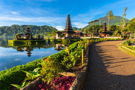 Pura Ulun Danu Bratan at sunrise, famous temple on the lake, Bedugul, Bali, Indonesia. Stock Photo - 56679326