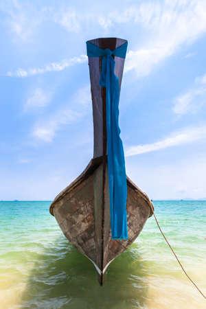 nang: Traditional long-tail boat on the Ao Nang beach, Krabi, Thailand