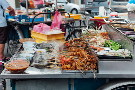 steamboat: Lok-Lok steamboat stall at the Kimberly Street Food Market, George Town, Penang, Malaysia.