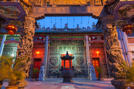 Dusk view of illuminated Hainan Temple, on March 26, 2016 in Georgetown, Penang, Malaysia. Stock Photo - 58288624