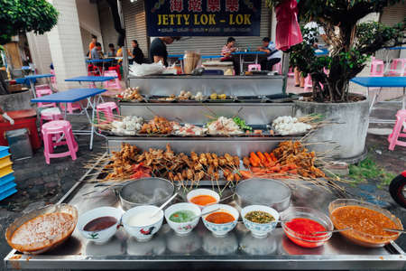 steamboat: George Town, Malaysia - March 22, 2016: Lok-Lok steamboat stall at the Kimberly Street Food Market, George Town, Penang, Malaysia.