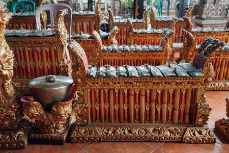 ubud: Traditional balinese percussive music instruments instruments for Gamelan ensemble music, Ubud, Bali, Indonesia.